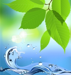 water wave and leaves vector image