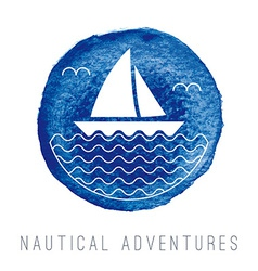 Watercolor nautical logo with a sailboat vector image
