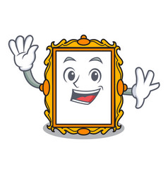 Waving picture frame character cartoon vector