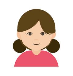 woman cartoon character female with bun hair flat vector image
