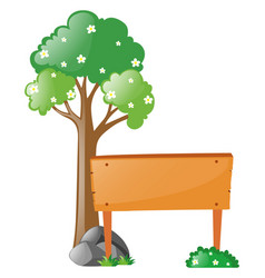 wooden sign next to tree vector image