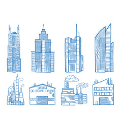 different modern building with offices industry vector image