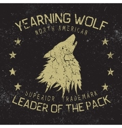 Wolf howling at the moonVintage label vector image vector image