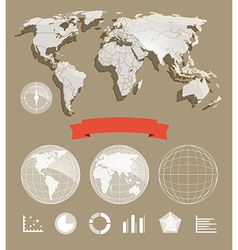 World map and different charts vector