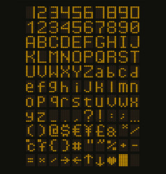yellow led font vector image