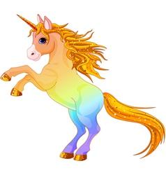 cartoon rainbow colored unicorn vector image vector image