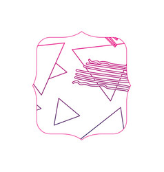 Color line quadrate with geometric figure stye vector