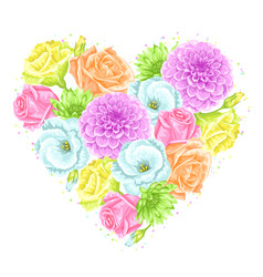 decorative heart with delicate flowers object for vector image vector image