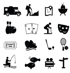 entertainment and leisure icons vector image vector image