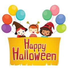 Girls with Happy Halloween Banner vector image vector image
