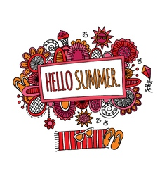 Hello summer hand drawn doodle bright vector