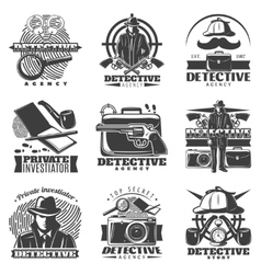 Private Investigator Labels Set vector image