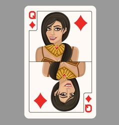 Queen of diamonds playing card vector image vector image