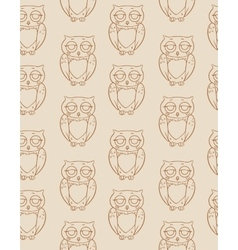 Seamless Pattern with Brown Owls Silhouettes vector image