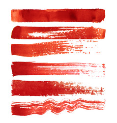 set of red brush strokes vector image