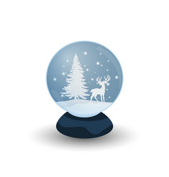 snow globe with deer vector image