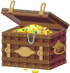 chest with treasures vector image