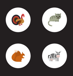 flat icons gobbler chipmunk kitty and other vector image