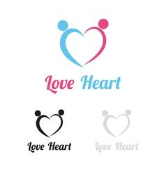 Love heart logo vector
