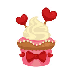 sweet vanilla cupcake with red hearts and bows vector image