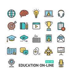 symbol of education online color thin line icon vector image vector image