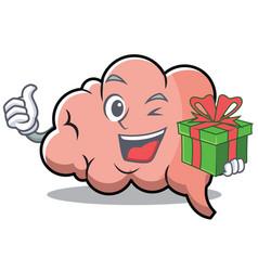 with gift brain character cartoon mascot vector image vector image