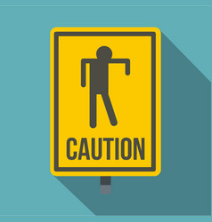yellow caution zombie sign icon flat style vector image