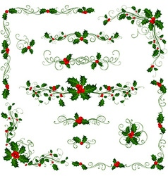Christmas page dividers and decorations vector image vector image
