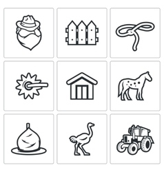 Cowboy ranch icons set vector