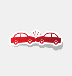 crashed cars sign new year reddish icon vector image