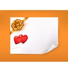 Elegant greeting background with hearts and gold vector image vector image