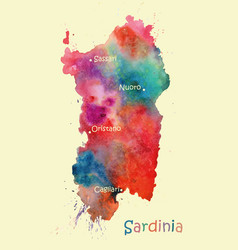 stylized map of the italian island of sardinia vector image