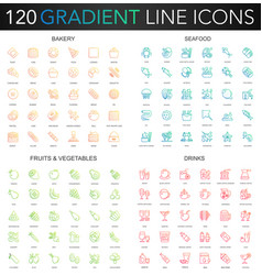 120 trendy gradient thin line icons set of vector image