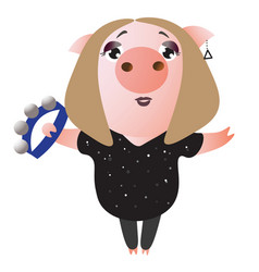 a cute piggy sings and plays on tambourine vector image
