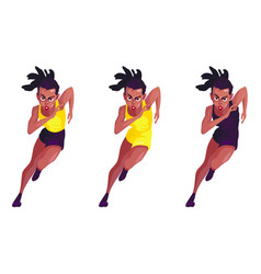 A set of three black women in tracksuits running vector