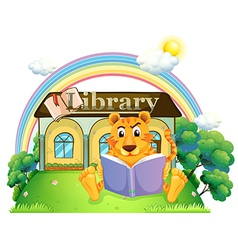 A tiger reading a book outside library vector