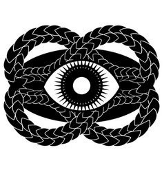 Abstract gothic with eye framed entwined snake vector