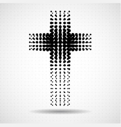 Abstract halftone cross christian symbol vector