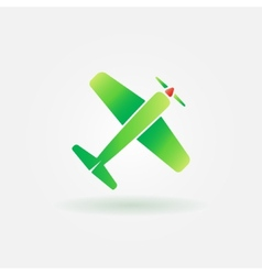 Airplane green sign or icon vector image