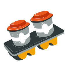 Aromatic coffee in cup holder takeaway beverages vector