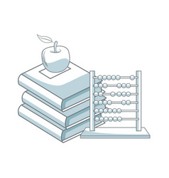 back to school books apple abacus elements vector image