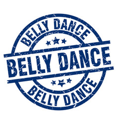 Belly dance blue round grunge stamp vector