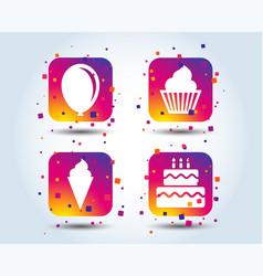 Birthday party icons cake with ice cream symbol vector