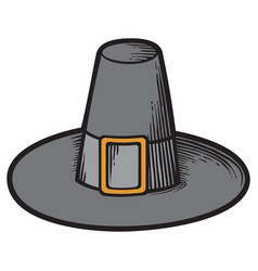 black pilgrim hat vector image