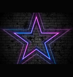 blue purple neon stars on grunge brick wall vector image