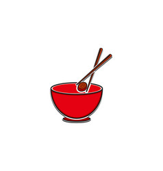 bowl chopsticks and sushi logo design inspiration vector image