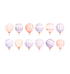 bundle of round hot air balloons of different vector image