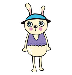 Bunny with a hat on white background vector