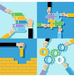 Business hands concepts set vector