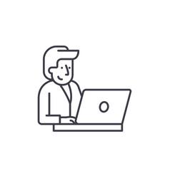 businessman behind a laptop line icon concept vector image
